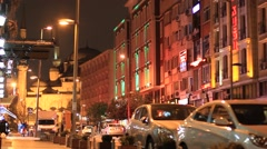 Istanbul street life at night Stock Footage