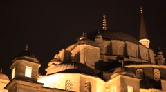 Mosque in the historic part of Istanbul at night Stock Footage