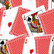 Blackjack cards in a seamless pattern Stock Illustration