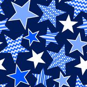Blue stars and stripes seamless pattern - stock illustration
