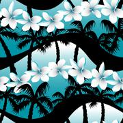 Stock Illustration of Blue tropical frangipani flowers with palm tree seamless pattern