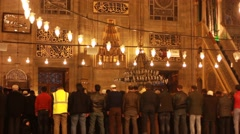 Muslims pray in the istanbul mosque - stock footage