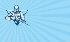 Business card American Soldier Assault Rifle Retro Stock Illustration
