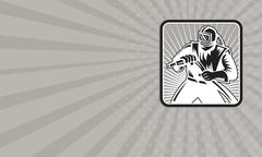 Business card Sandblaster Sand Blaster Woodcut Retro - stock illustration