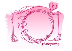 Camera scribble with a heart on a white background Stock Illustration