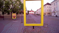 The city of Tartu Estonia and the yellow rectangle on the street Stock Footage