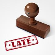 stamp late in red text on white - stock illustration