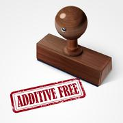 Stamp additive free in red text on white Stock Illustration