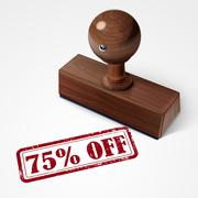 Stamp 75 percent off in red text on white Stock Illustration