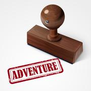 stamp adventure in red - stock illustration