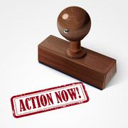Stock Illustration of stamp action now in red