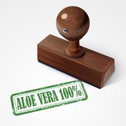 Stock Illustration of stamp aloe vera 100 percent in green