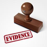 stamp evidence in red - stock illustration
