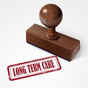 Stamp long term care in red Piirros