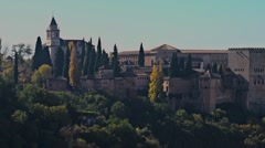 Stock Video Footage of Tracking shot of the outside of the Alhambra palace in Granada, Spain.