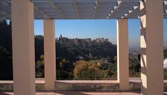 Panning shot of the Alhambra palace as seen from Sacromonte Stock Footage