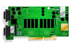 Green graphics card circuit board illustration on white background - stock illustration