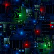 Stock Illustration of Circuit board with LED's and wires seamless pattern
