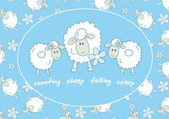 Counting sheep falling asleep - stock illustration