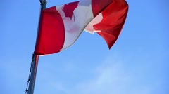 Canadian flag billows in wind - stock footage