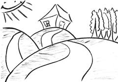 Pencil sketch of funny house Stock Illustration
