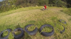 Downhill Grass Karting 1 Stock Footage