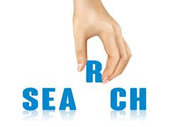 Stock Illustration of search word taken away by hand
