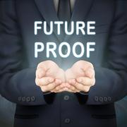 Businessman holding future proof words Stock Illustration