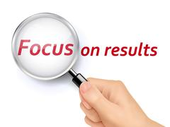 focus on results words showing through magnifying glass - stock illustration