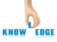 Knowledge word taken away by hand Stock Illustration