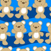 Cute teddy bears in a seamless pattern Stock Illustration