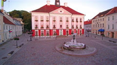 The pink paint of the city hall of Tartu Stock Footage