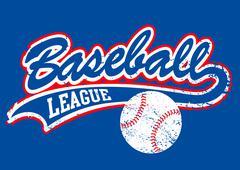 Distressed baseball script with a baseball - stock illustration