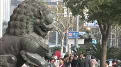 Bronze statue of lion, Shanghai street Stock Footage