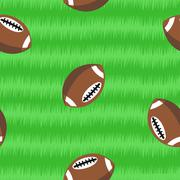 Footballs on field seamless pattern Stock Illustration