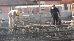 Construction, workers, welding, China - stock footage