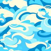 Graphic tropical surf waves in a seamless pattern Piirros