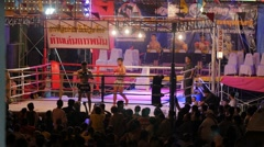 Thai boxers do ceremony dance before match,Ubon Ratchathani,Thailand Stock Footage