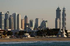Skyline of Downtown in Dubai (United Arab Emirates) - stock photo