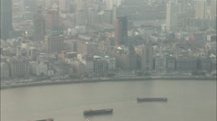 Shipping barges, time lapse, Shanghai, China Stock Footage