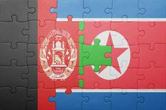puzzle with the national flag of north korea and afghanistan - stock photo