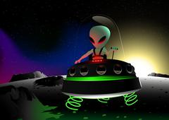 Grey alien flying on moon surface in a UFO Stock Illustration
