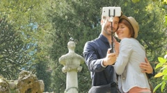 In love couple taking selfie picture with smartphone Stock Footage