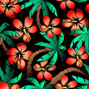 Stock Illustration of Hand drawn tropical palm and hibiscus seamless pattern