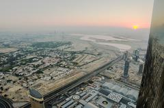 Downtown of Dubai (United Arab Emirates) in the sunrise Stock Photos