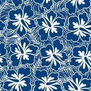 Hibiscus blue flowers and tropical leaves in a seamless pattern - stock illustration
