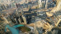 Downtown of Dubai (United Arab Emirates) in the sunrise - stock photo