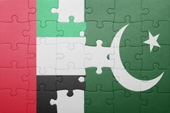 puzzle with the national flag of pakistan and united arab emirates - stock illustration