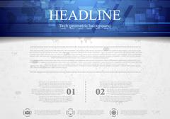 Hi-tech corporate background with blue header - stock illustration