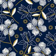 Hibiscus tropical embroidery navy seamless pattern - stock illustration
